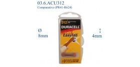 312 B6 1.4V ACUSTICA 160mAh (PR41-R624)DURACELL