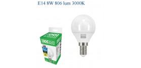 ECOLIGHT LED GOCCIA E14 8W>60W 3000K CALDA 806lm