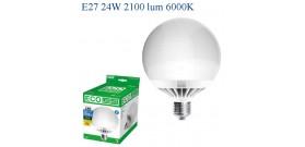 ECOLIGHT LED GLOBO G125 E27 24W>130W 6000K FREDDA 2100lm