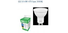 ECOLIGHT LED SPOT GU10 6W>50W 3000K CALDA 470lm °100