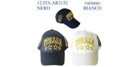 CAPPELLINO C/RICAMO ITALIA+2 SCUD.+NUM.variante:NEROoBIANCO