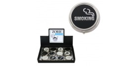 12 POSACENERE TASCABILI TONDI °5x1,5cm NO SMOKING DISPLAY