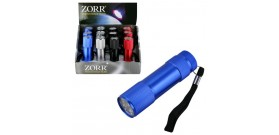 12 TORCE ZORR 9 LED METAL.4colori°2,5x9cm(3xAAAincl.)DISPLAY