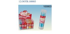 18 CANDELINE+SUPPORTI 6colori °0,5x10cm IN TUBO