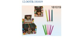 12 CANDELINE+SUPPORTI 6colori °0,5x5,8cm IN BLISTER