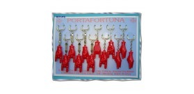 12 PORTA CHIAVI MANO CORNA PVC 5,5cm IN DISPLAY