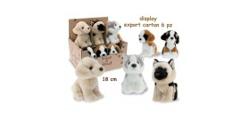 DISPLAY 6 PELOUCHES ANIMALI CANI 18cm ®
