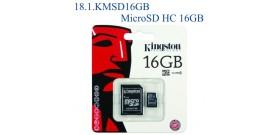 MICRO SDHC 16GB+ADATTATORE CLASSE 4 KINGSTON