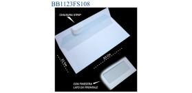 BUSTA BIANCA 11x23 C/FINESTRA STRIP cod.108 x500