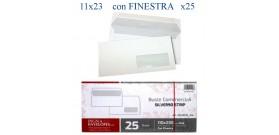 25 BUSTE BIANCHE 11x23cm 90gr PIGNA SILVER C/FINESTRA