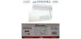 500 BUSTE BIANCHE 11x23cm 90gr STRIP C/FINESTRA PIGNA SILVER