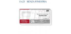 25 BUSTE BIANCHE 11x23cm STRIP SENZA FINESTRA PIGNA