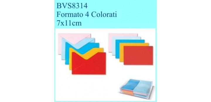 100 BIGLIETTI/BUSTE COLOR VISITA F.TO 4 5col. 7x11cm